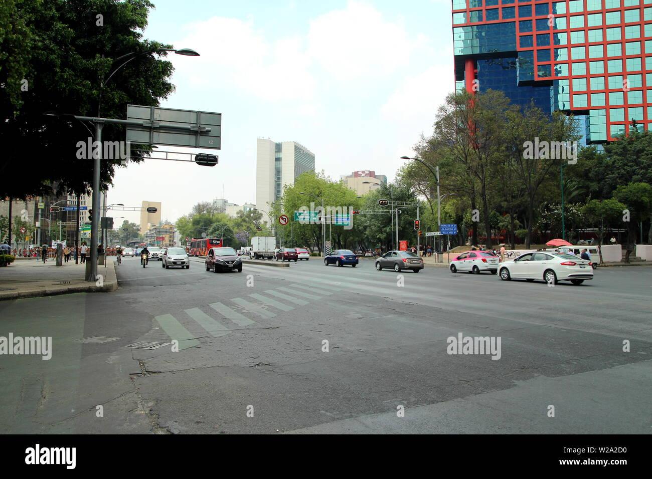 Paseo de la Reforma. Central Avenue of Mexico city. - Stock Image