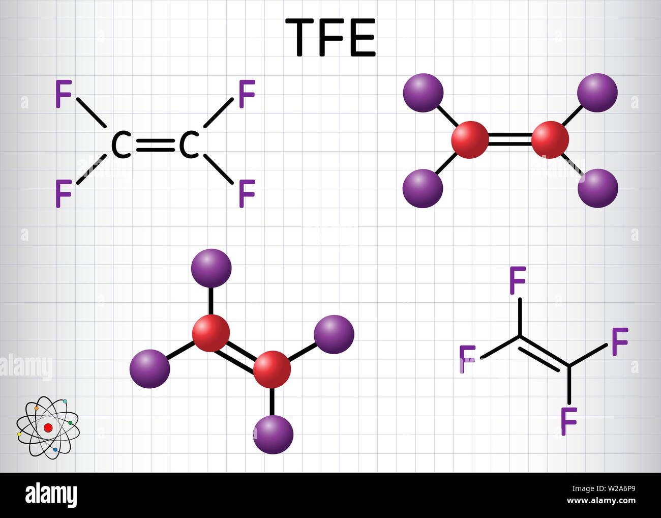 Tetrafluoroethylene or TFE molecule , is a monomer of Polytetrafluoroethylene or PTFE. It belongs to the family of fluorocarbons. Sheet of paper in a - Stock Vector