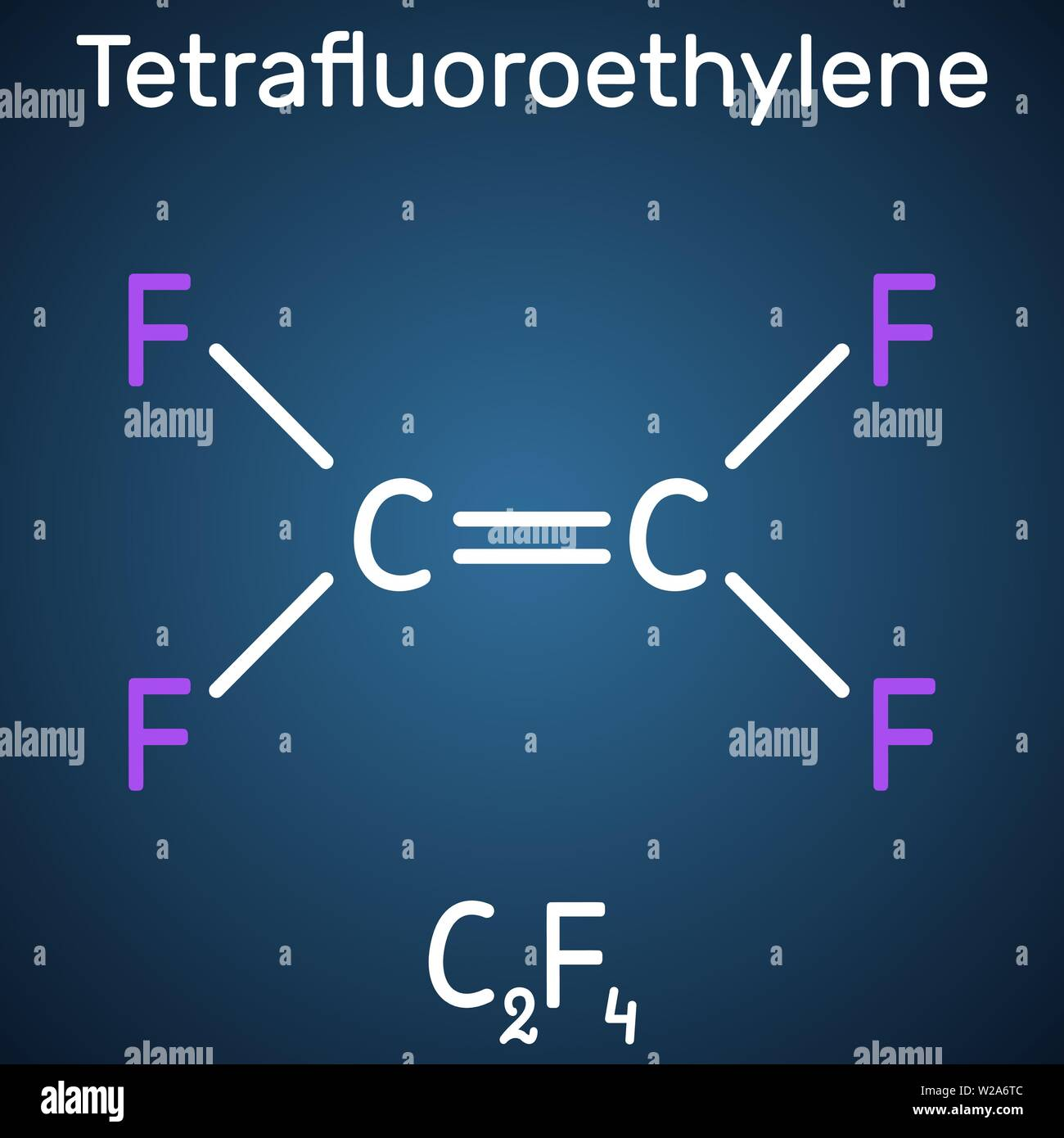 Tetrafluoroethylene or TFE molecule , is a monomer of Polytetrafluoroethylene or PTFE. It belongs to the family of fluorocarbons. Structural chemical - Stock Vector