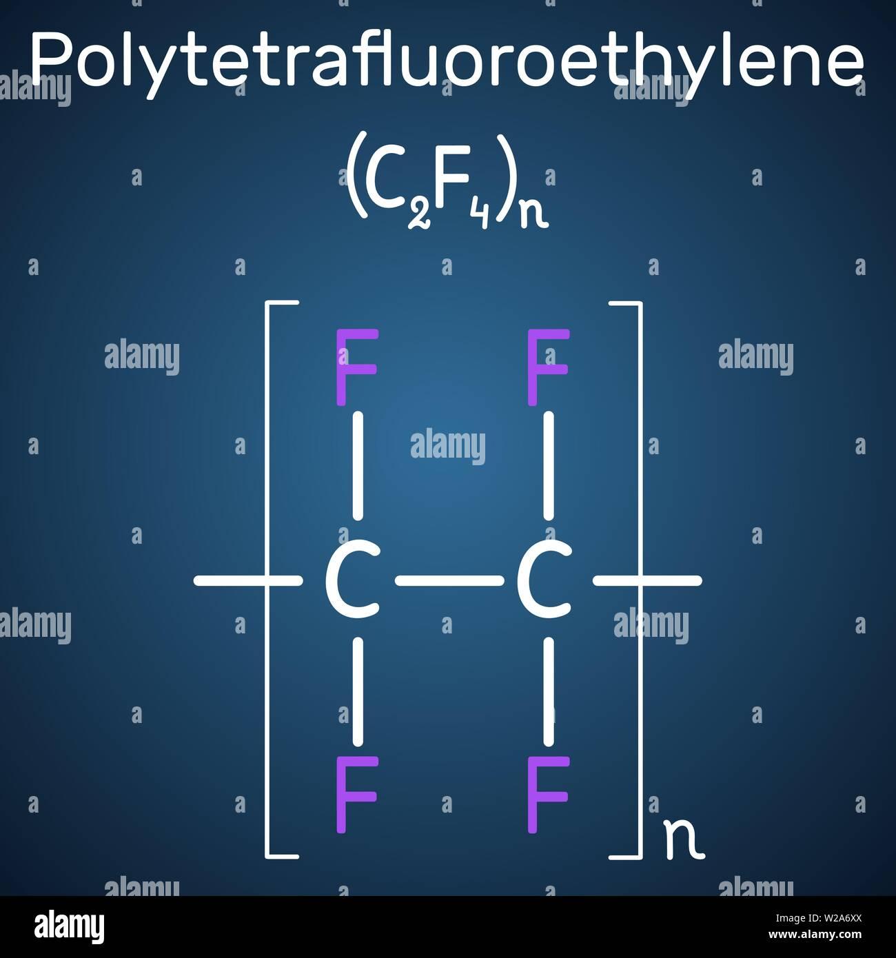 Polytetrafluoroethylene or PTFE, teflon polymer molecule. Is a synthetic fluoropolymer of tetrafluoroethylene. Structural chemical formula on the dark - Stock Vector