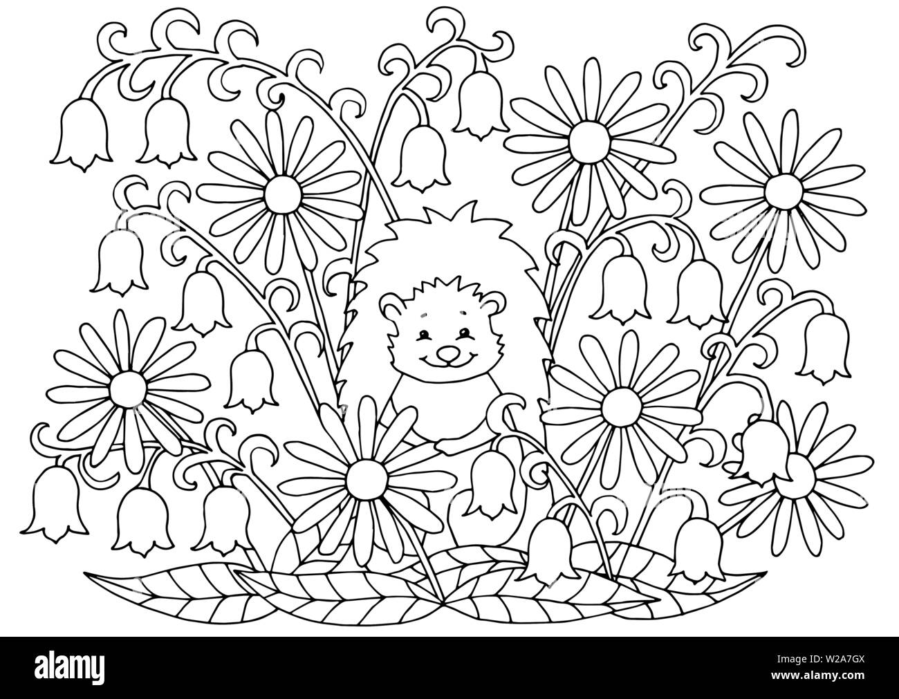 Abstract coloring page with summer flowers and cute hedgehog, for kids and  adults Stock Vector Image & Art - Alamy