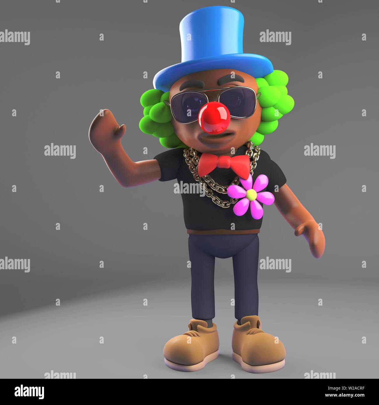 79ff90ac7aab45 Cartoon black hip hop rapper dressed as a clown with red nose, 3d  illustration render