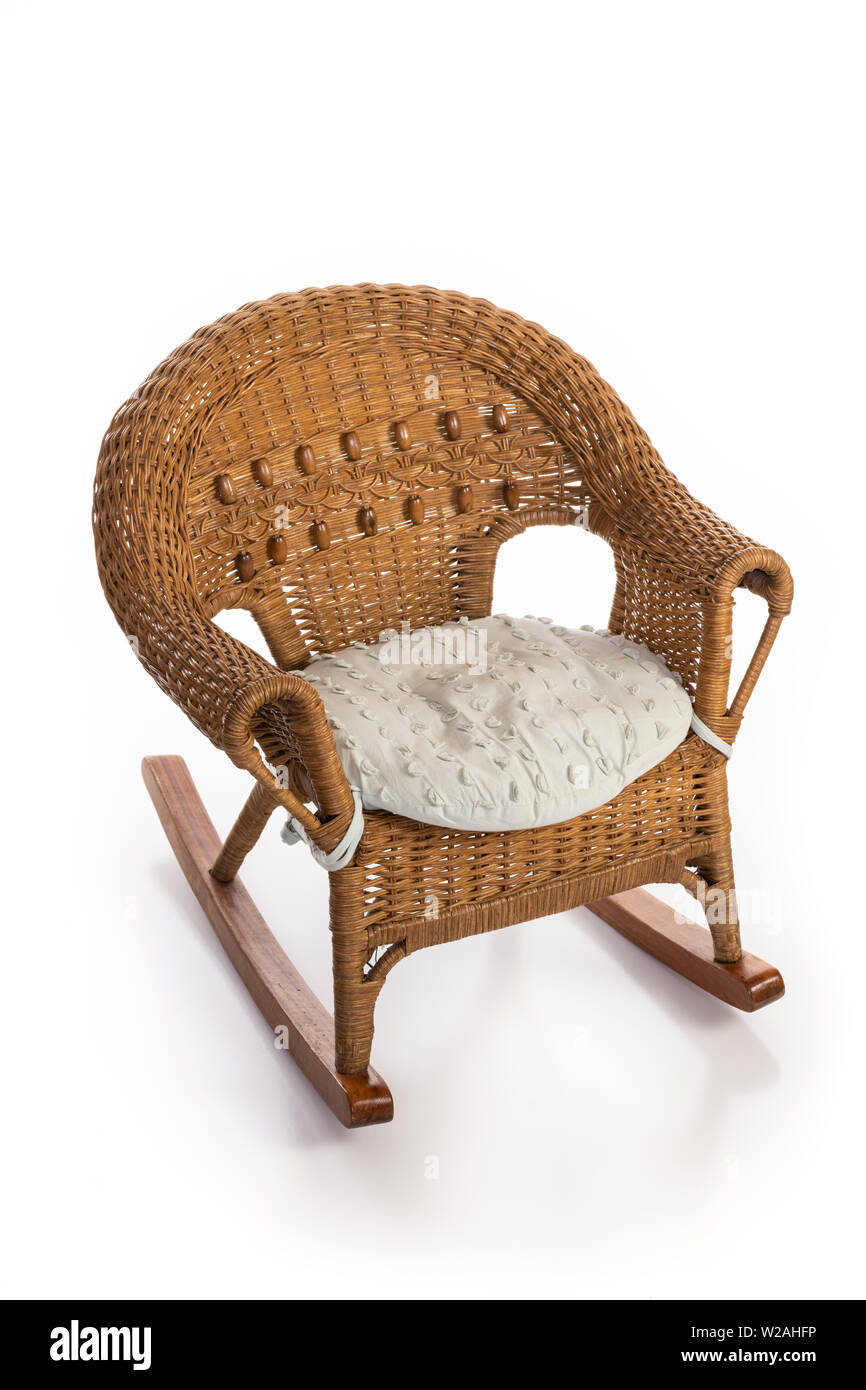 Picture of: Rustic Wicker Rocking Child Chair With A Seat Cushion Isolated On White Stock Photo Alamy