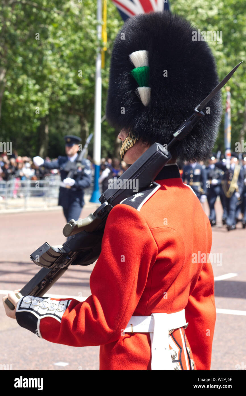 Welsh guard on the mall for trooping the colour. - Stock Image