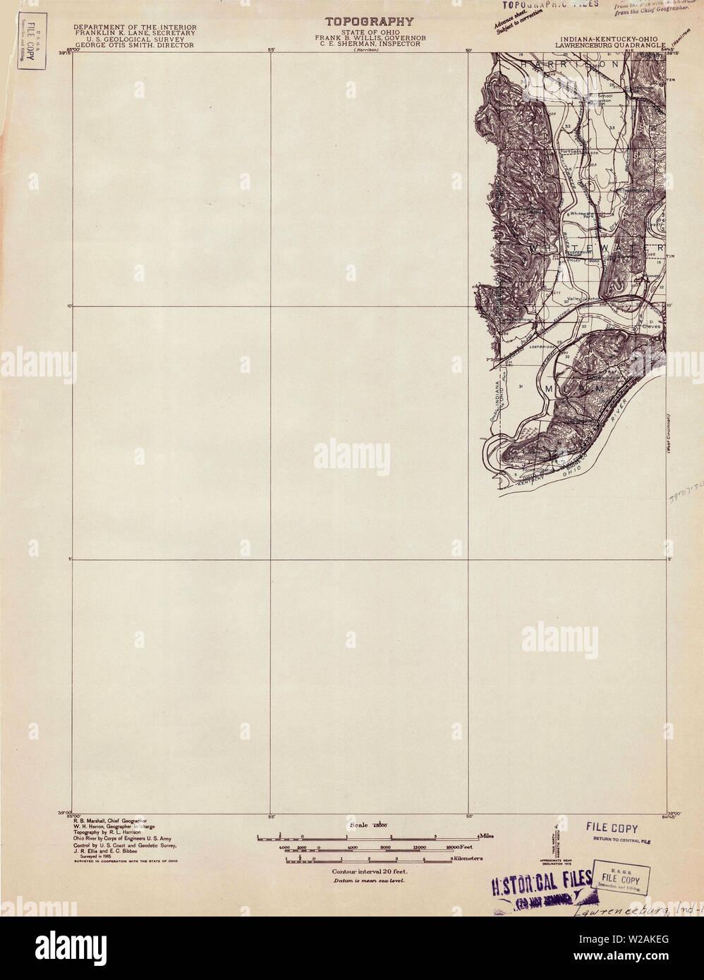 USGS TOPO Map Indiana IN Lawrenceburg 160502 1915 48000 Restoration Stock Photo