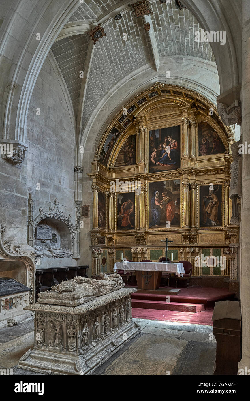 Chapel of the Visitation of the family Colonia and recumbent statue of Bishop Alonso de Cartagena de Siloé, in the Cathedral of Burgos, Spain - Stock Image