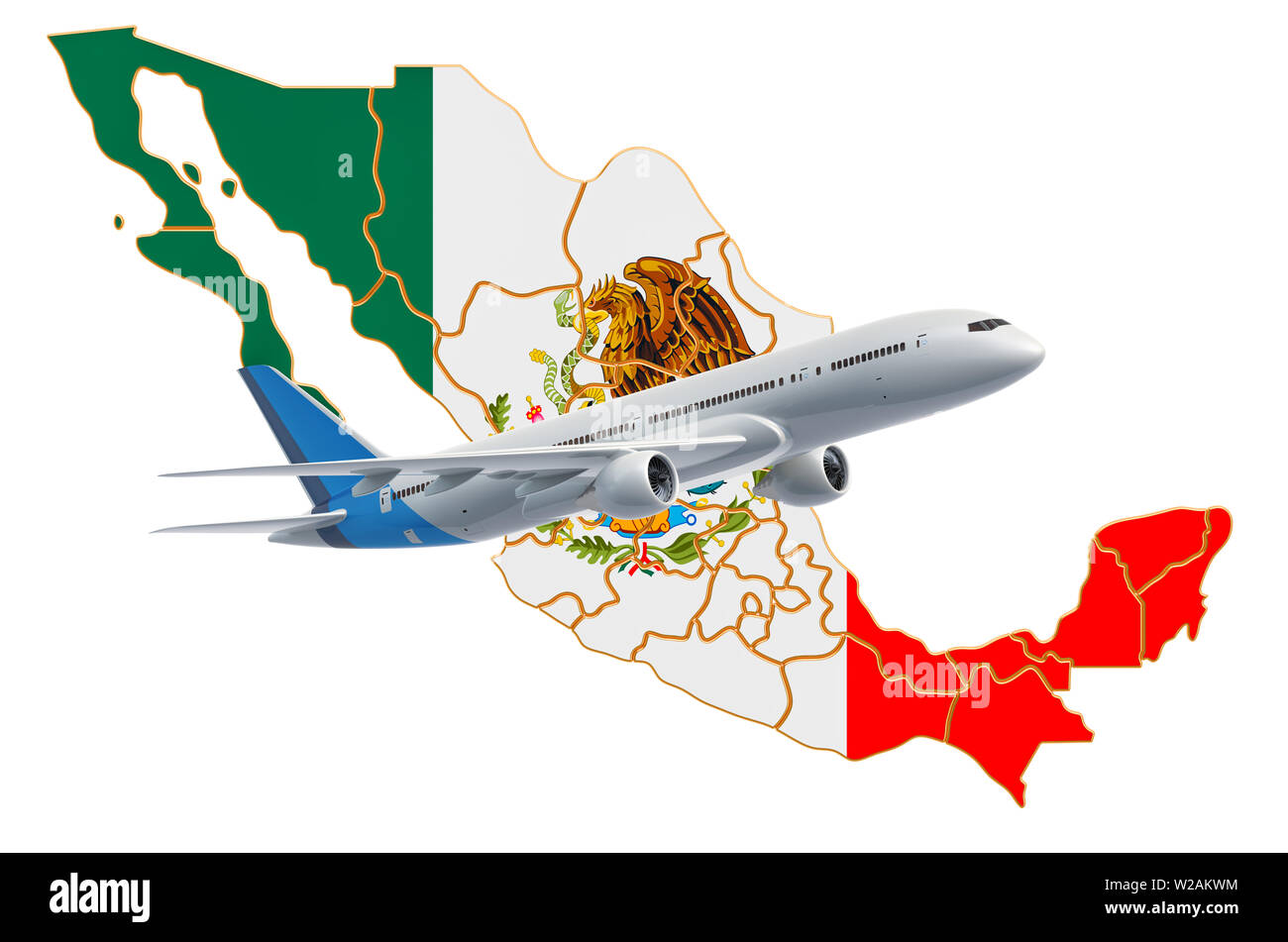 Flights to Mexico, travel concept. 3D rendering isolated on white background - Stock Image