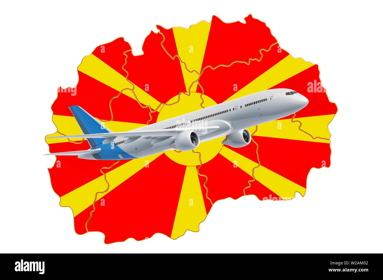 Flights to Macedonia, travel concept. 3D rendering isolated on white background - Stock Image