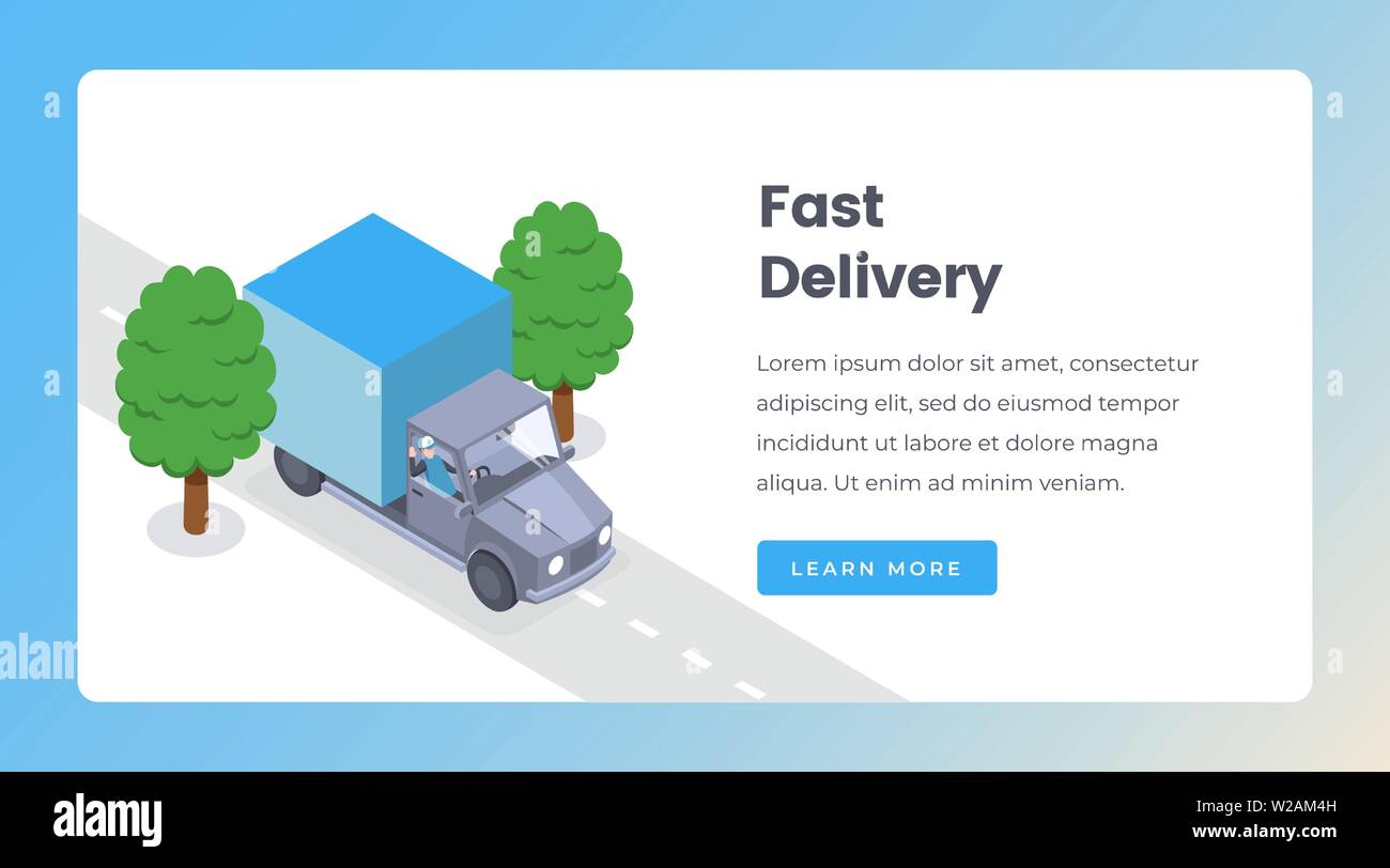 Delivery isometric landing page vector template. Shipping goods by truck, delivery service, express shipment website layout. Courier in car, logistics and distribution 3d concept - Stock Image