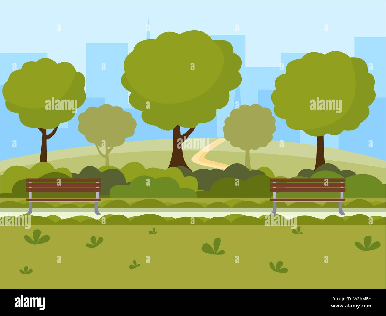 City park flat vector illustration. Outdoor leisure on nature public place, green trees, wooden benches and modern buildings silhouettes landscape. Recreational urban park cartoon color drawing - Stock Vector