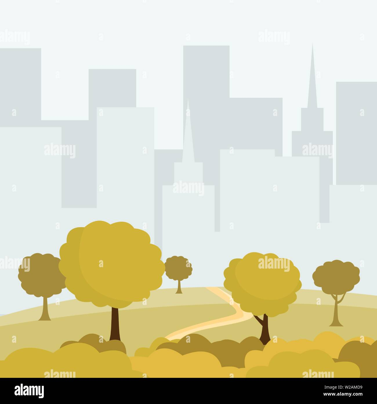 Modern city park cartoon vector illustration. Green trees and bushes walkway, buildings cityspace, outdoor leisure on nature, eco public area. Sunset in recreational urban park color drawing - Stock Vector