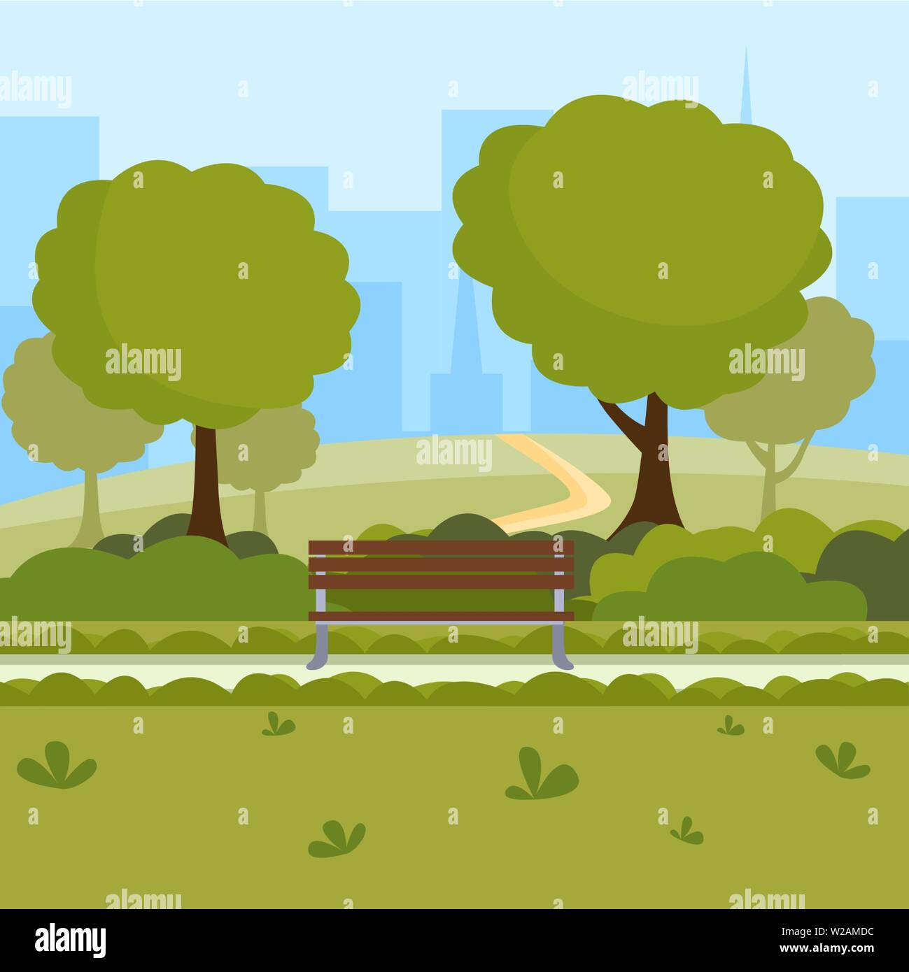 Urban park cartoon vector illustration. Outdoor leisure on nature public place, green trees, wooden benches and modern buildings cityspace. Recreational downtown central park drawing - Stock Vector