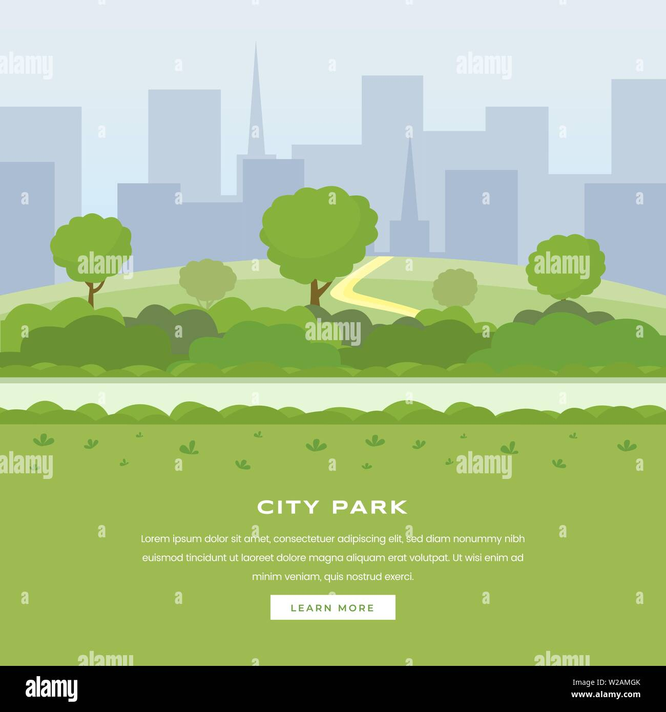 Modern city park vector landing page. Green trees and bushes walkway, skyscrapers cityspace, outdoor leisure on nature public area. Recreational urban park, botanical garden website homepage - Stock Vector