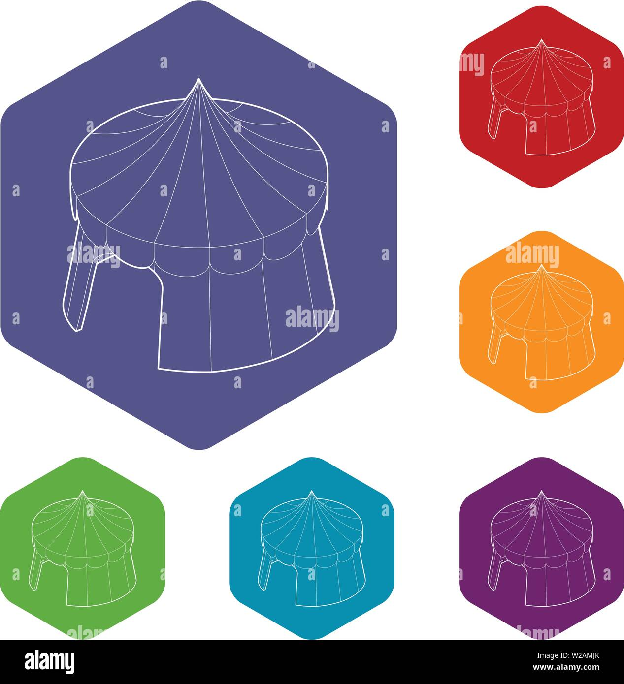 Circus tent icons vector hexahedron - Stock Image