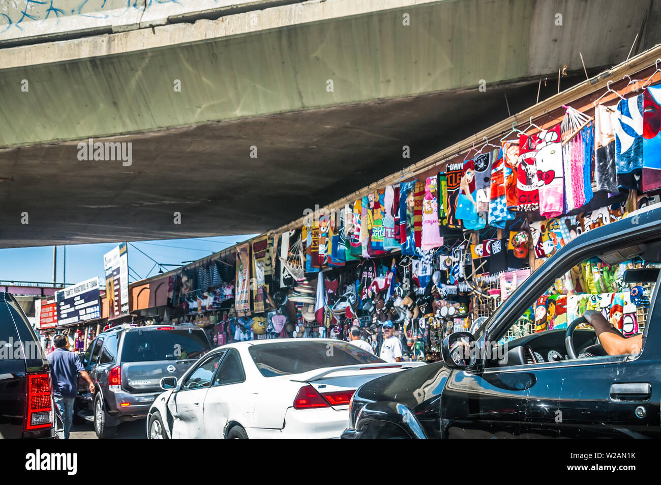 Tijuana, Mexico - AUGUST 2, 2012 - Commerce/Martket of Streets of Border of the United States and Mexico in San Diego, California - Stock Image