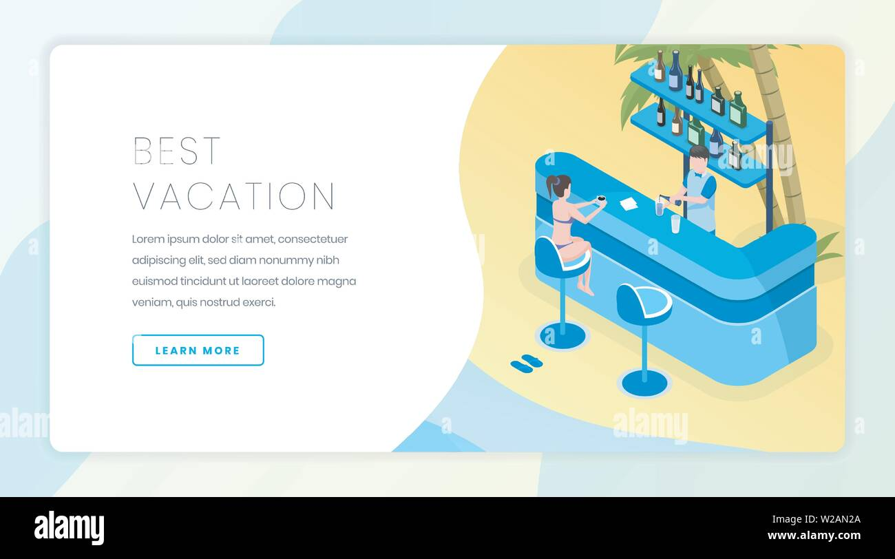 Travel business landing page vector template. Tropical resort with all inclusive service website homepage interface idea with isometric illustrations. Best vacation web banner cartoon concept - Stock Image