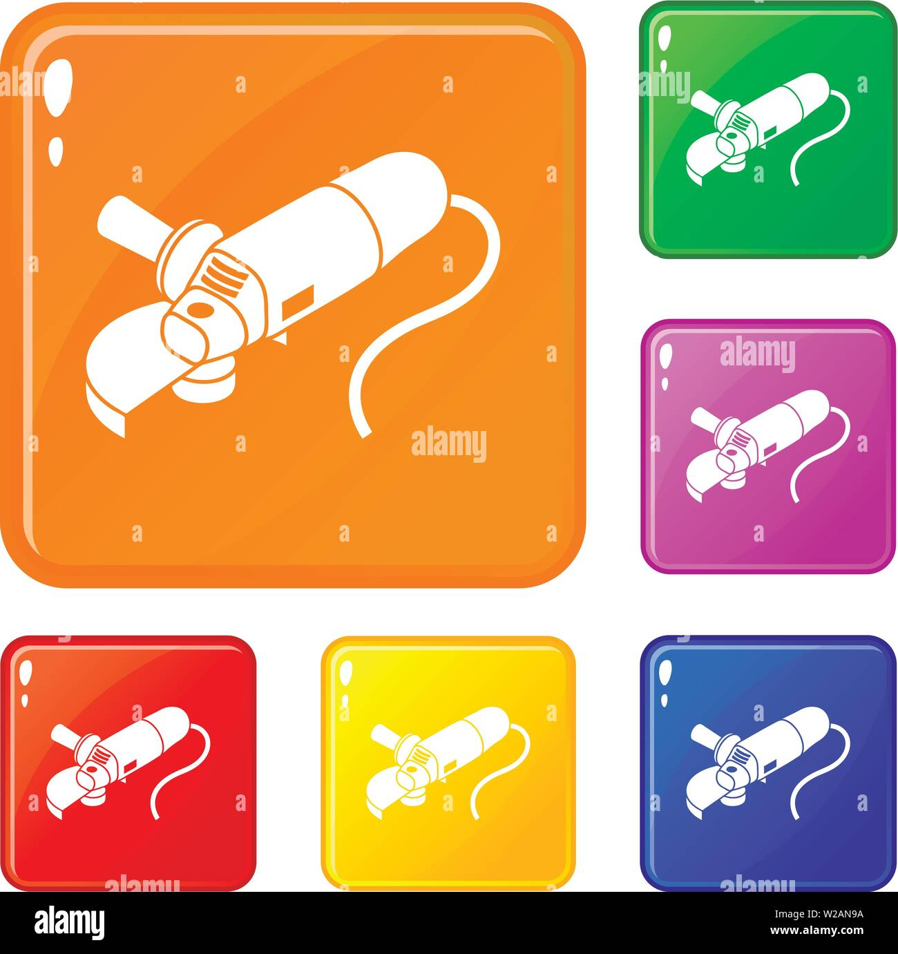 Angle grinder icons set vector color - Stock Image