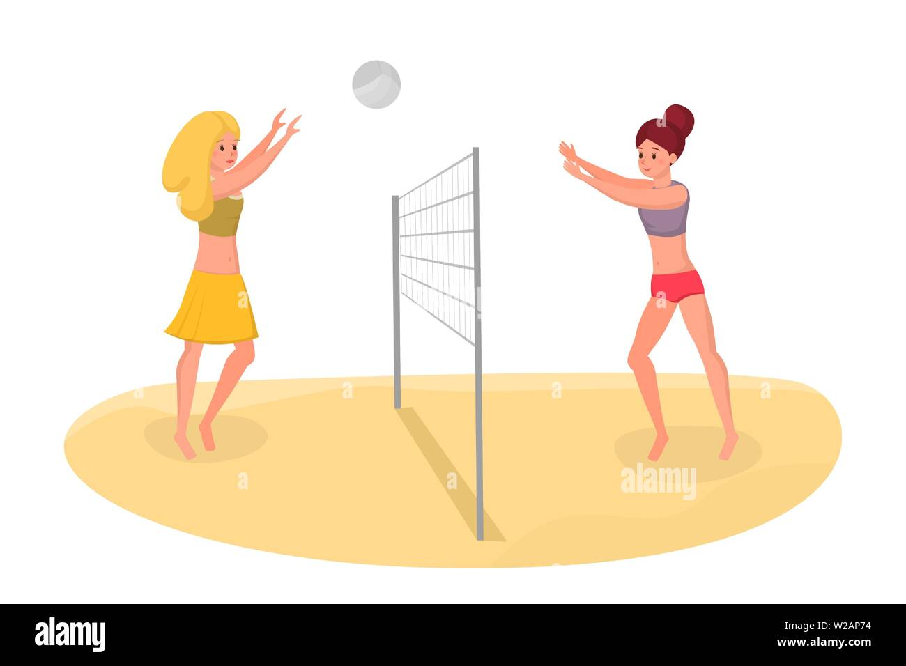 Friends playing volleyball vector illustration. Spending free time on holiday actively, healthy lifestyle isolated flat concept. Girls having fun, keeping fit during summer vacation cartoon characters - Stock Vector