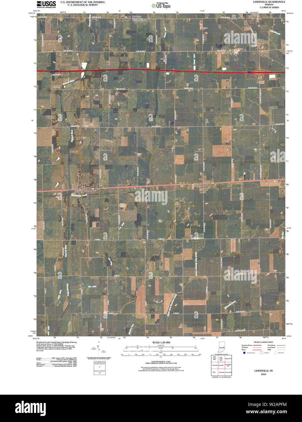 USGS TOPO Map Indiana IN Lewisville 20100528 TM Restoration Stock Photo