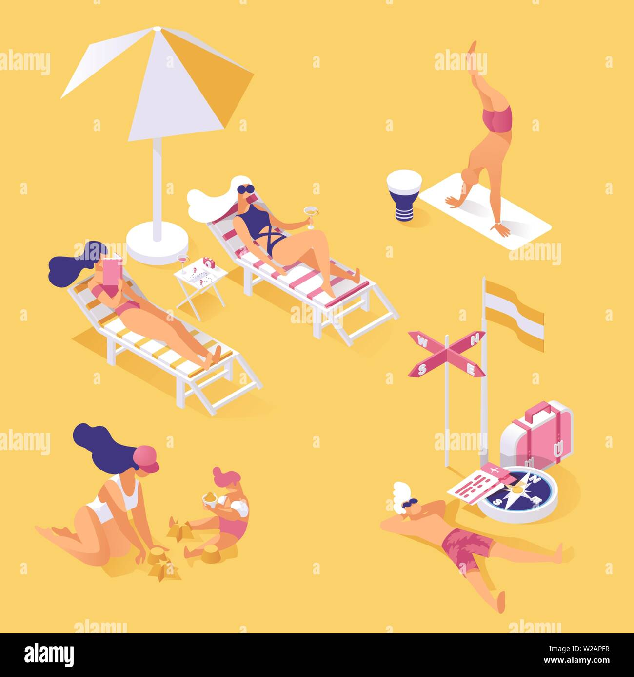 Summertime holiday on seashore isometric illustration. People enjoying summer vacation, relaxing and resting on sandy beach 3d concept. Hot day activities, sunbathing and working out - Stock Vector