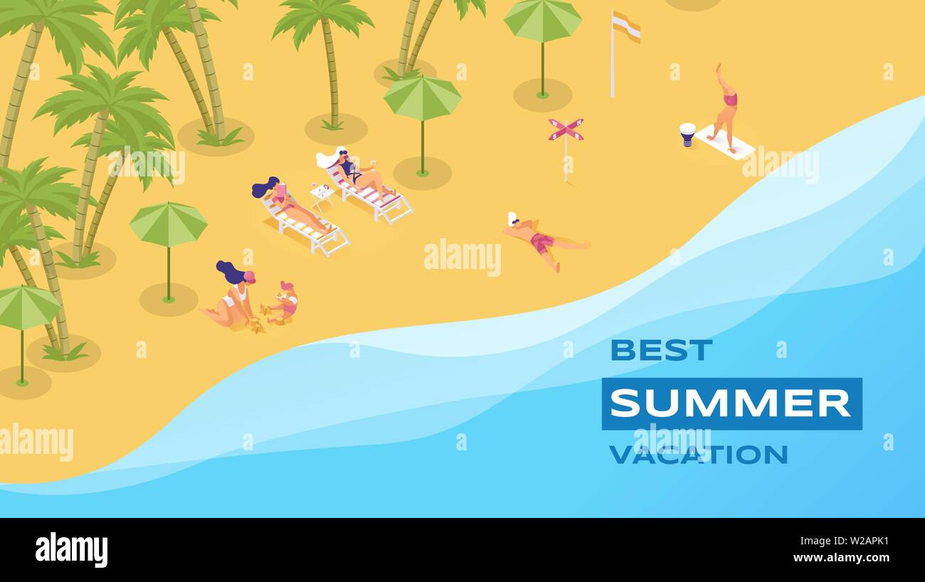 Best summer vacation isometric vector poster. Spending summertime holidays in tropics, on seashore 3d concept. Luxury resort for family and friends, tourist attraction, sunny day at sandy beach - Stock Vector