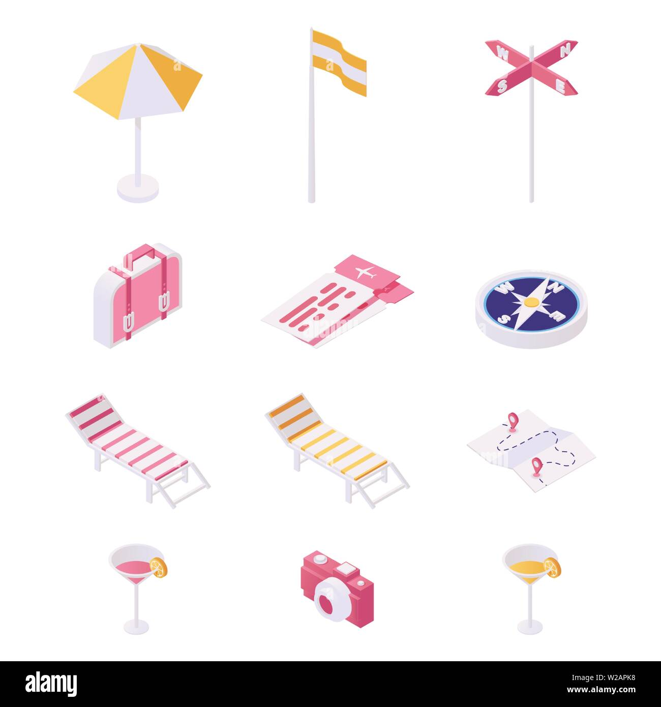 Traveling, tourism items illustration set. Beach equipment, essentials for tourists and foreign guests isometric vector collection. Deck chairs, cocktails, luxury resort attribute 3d concept - Stock Vector