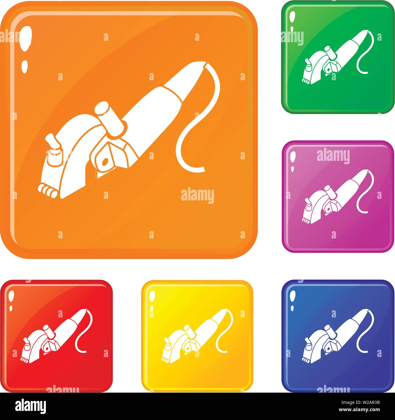 Protect angle grinder icons set vector color Stock Vector