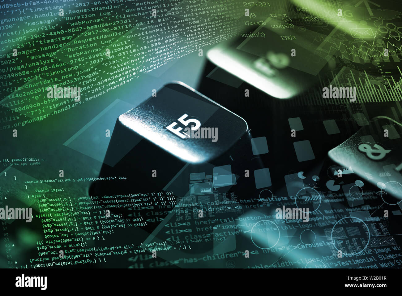 Close-up dark keyboard with coding and programing concept - Stock Image