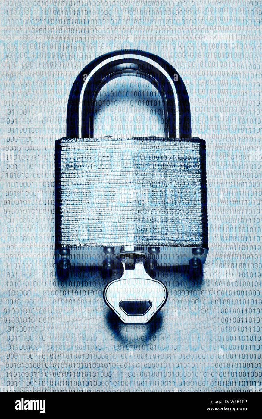Concept digital security and encryption with binary code overlaid on steel padlock and key on scratched steel surface - Stock Image