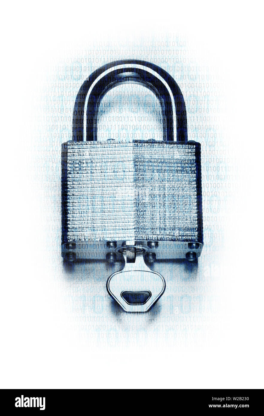 Concept digital security and encryption with binary code overlaid on steel padlock and key on fade to white background - Stock Image