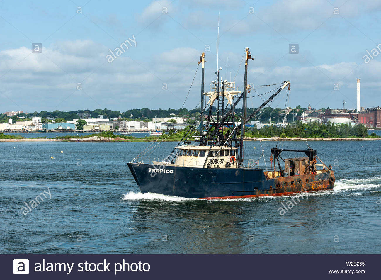 New Bedford, Massachusetts, USA - July 6, 2019: Commercial fishing