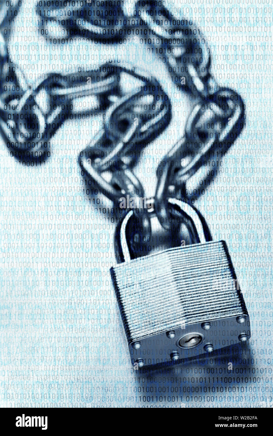 Digital security and encryption concept showing binary code overlaid on chain with steel padlock on scratched steel surface - Stock Image