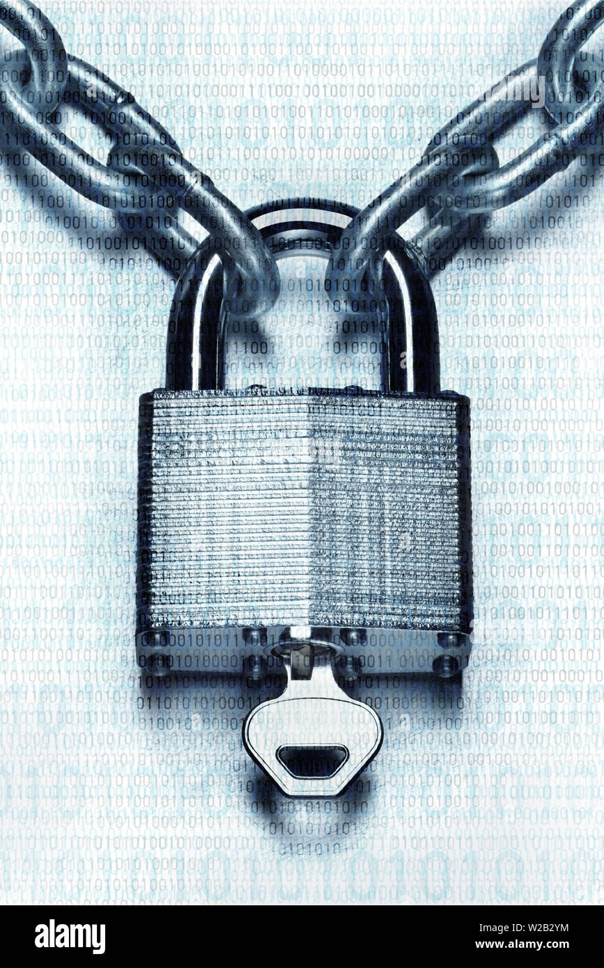 Security concept. Closeup image of chain and locked padlock with key on blue steel white background - Stock Image