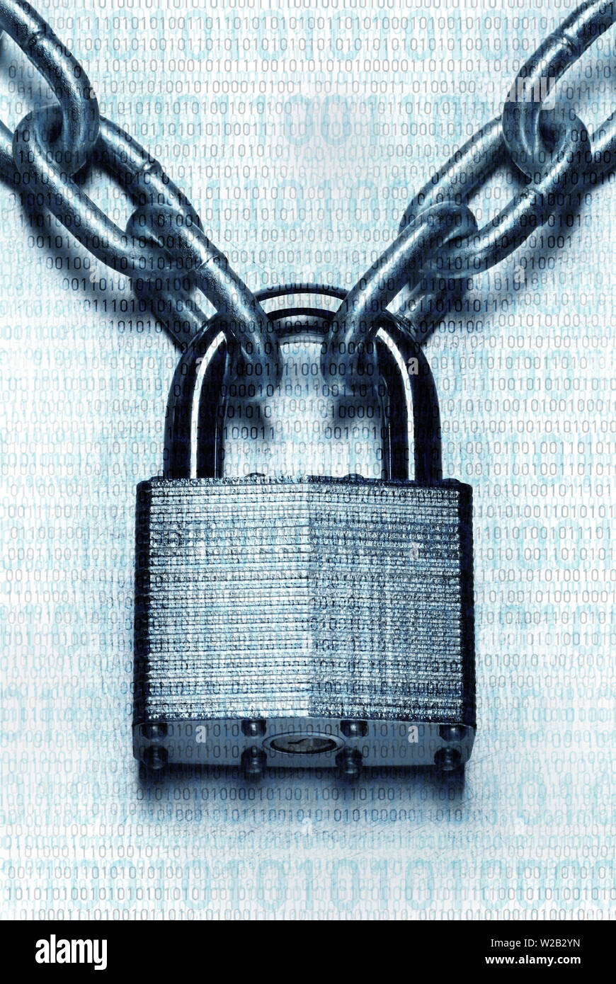 Impenetrable security concept. Closeup image of chain and locked padlock  on blue steel white background - Stock Image