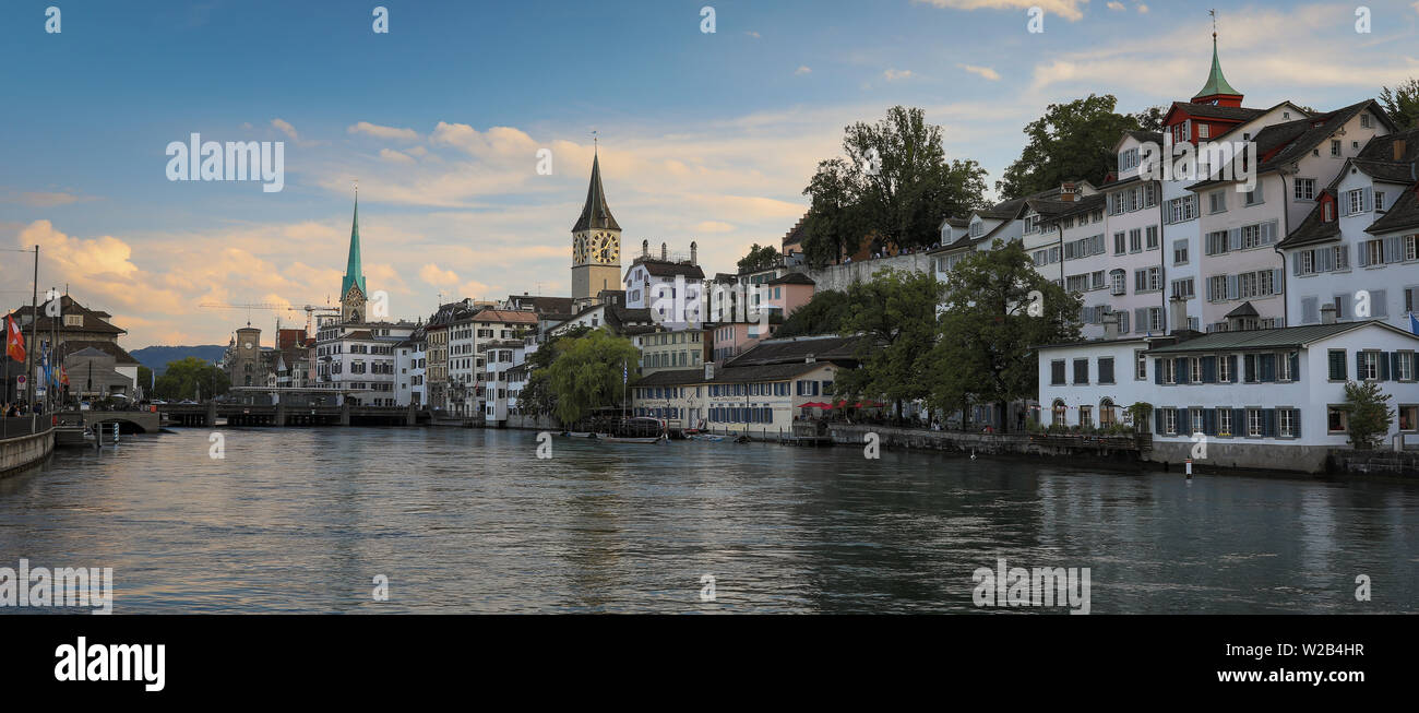 Aerial view of Zurich city center with famous St. Peter Church and river Limmat at Lake Zurich from Grossmunster Church Canton of Zurich Switzerland Stock Photo