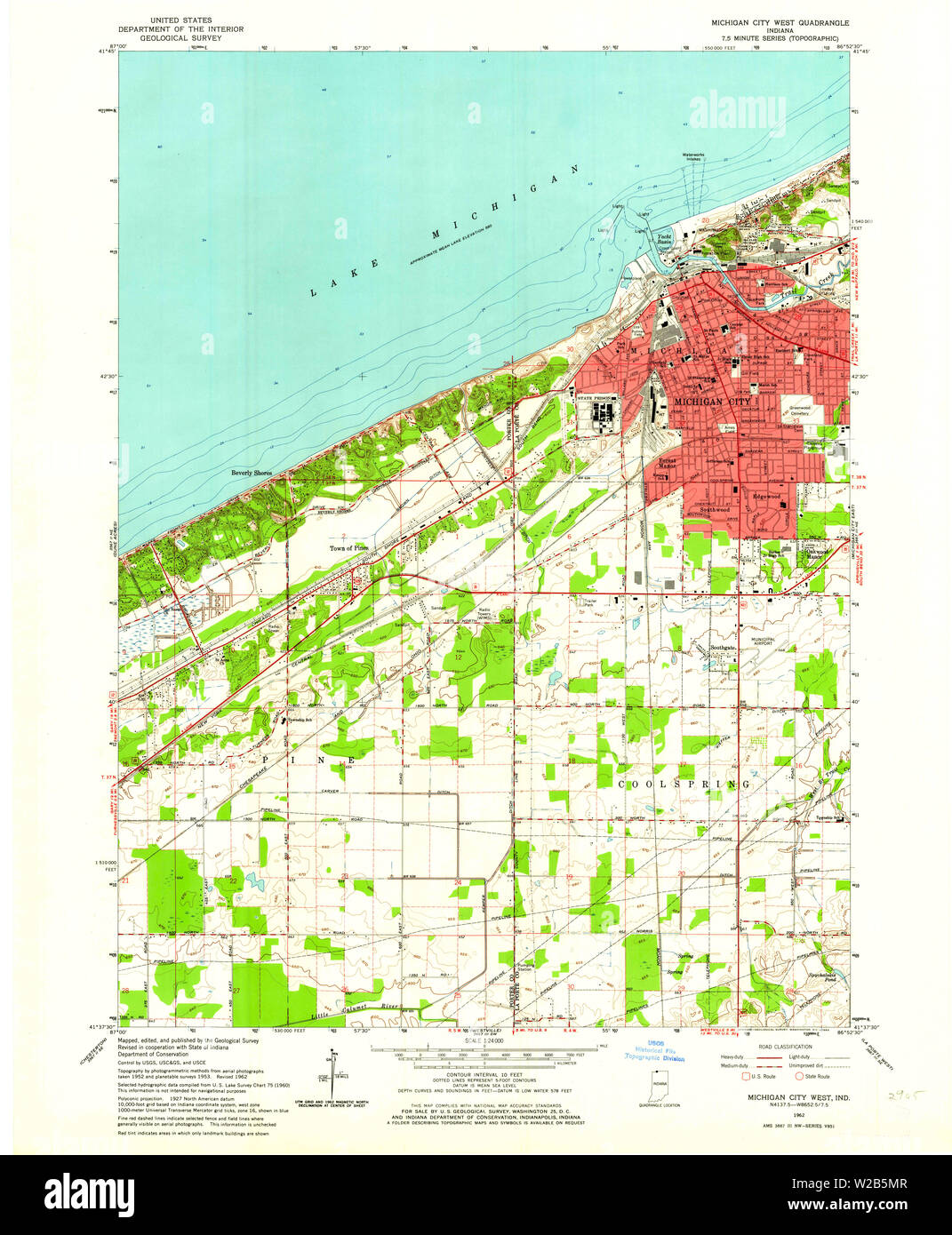 Usgs Topo Map Indiana In Michigan City West 160676 1962