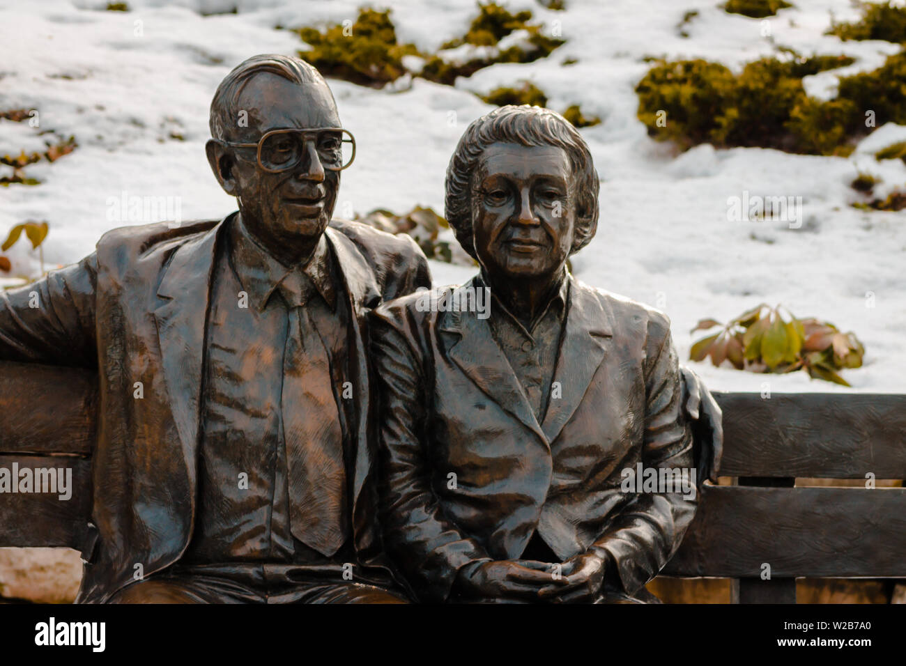Statue of Frederik and Lena Meijer - Stock Image