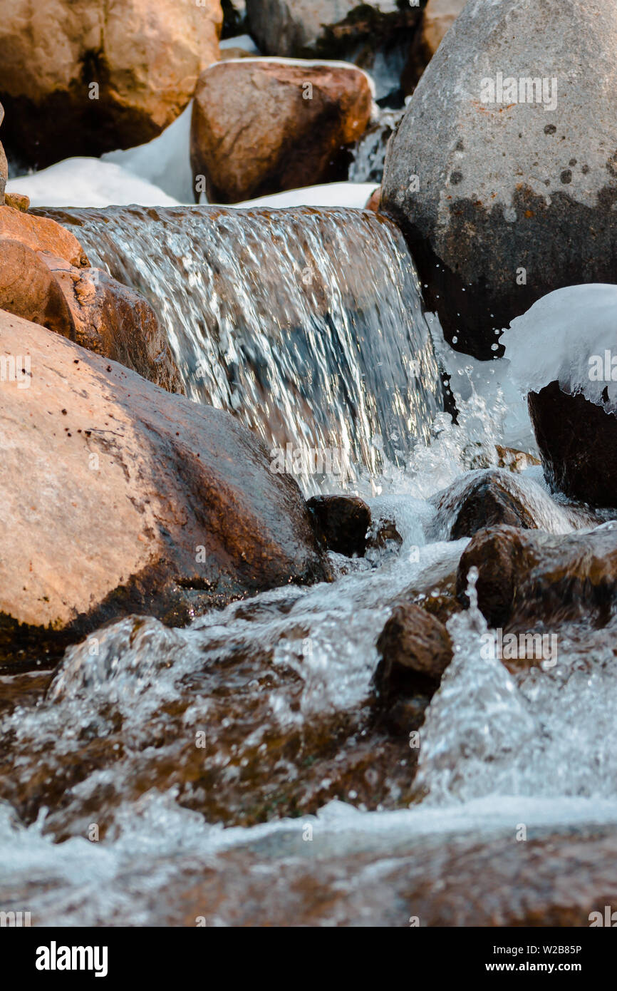 Winter waterfalls in the Frederik Meijer Gardens - Stock Image