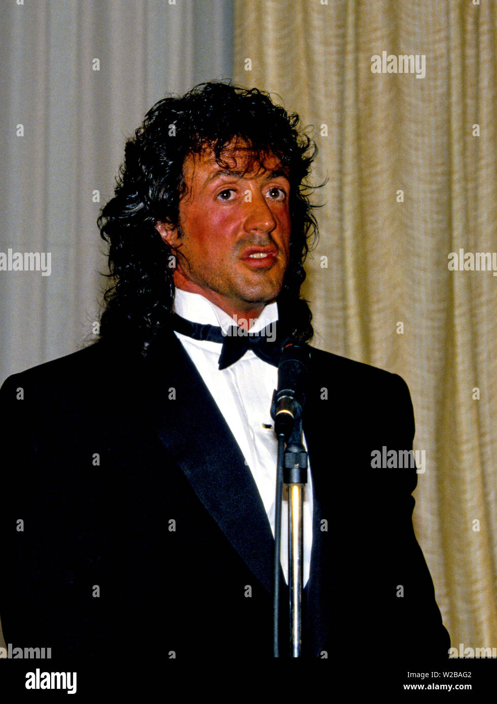 Washington, District of Columbia, USA. 23rd Jan, 1988. American actor, director, screenwriter, and producer Sylvester Stallone makes remarks after accepting the President's Council on Physical Fitness award at the Washington, DC Touchdown Club dinner in Washington, DC on January 23, 1988. Credit: Arnie Sachs/CNP Credit: Arnie Sachs/CNP/ZUMA Wire/Alamy Live News - Stock Image