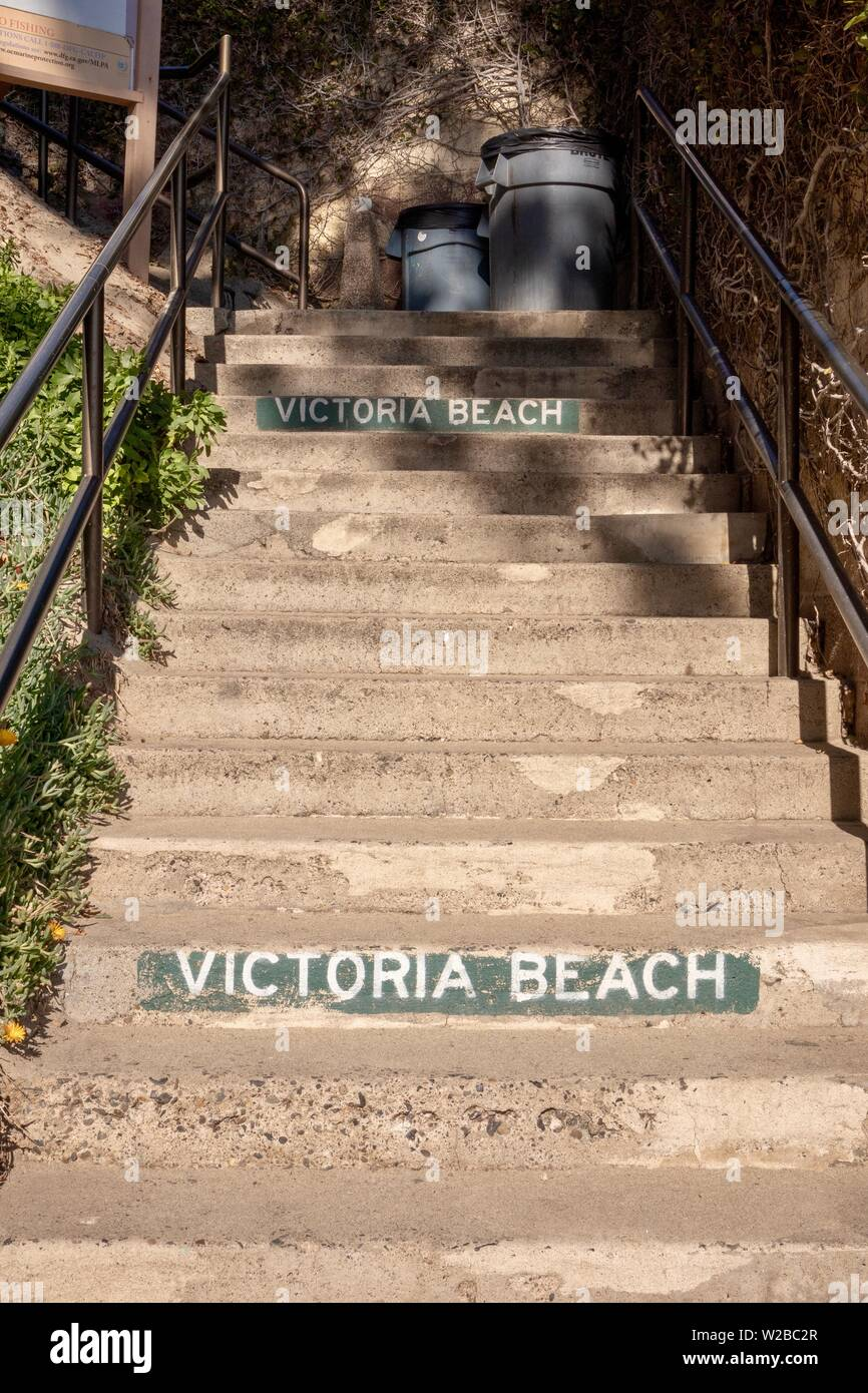 staircase at Victoria Beach in Laguna Beach, California - Stock Image