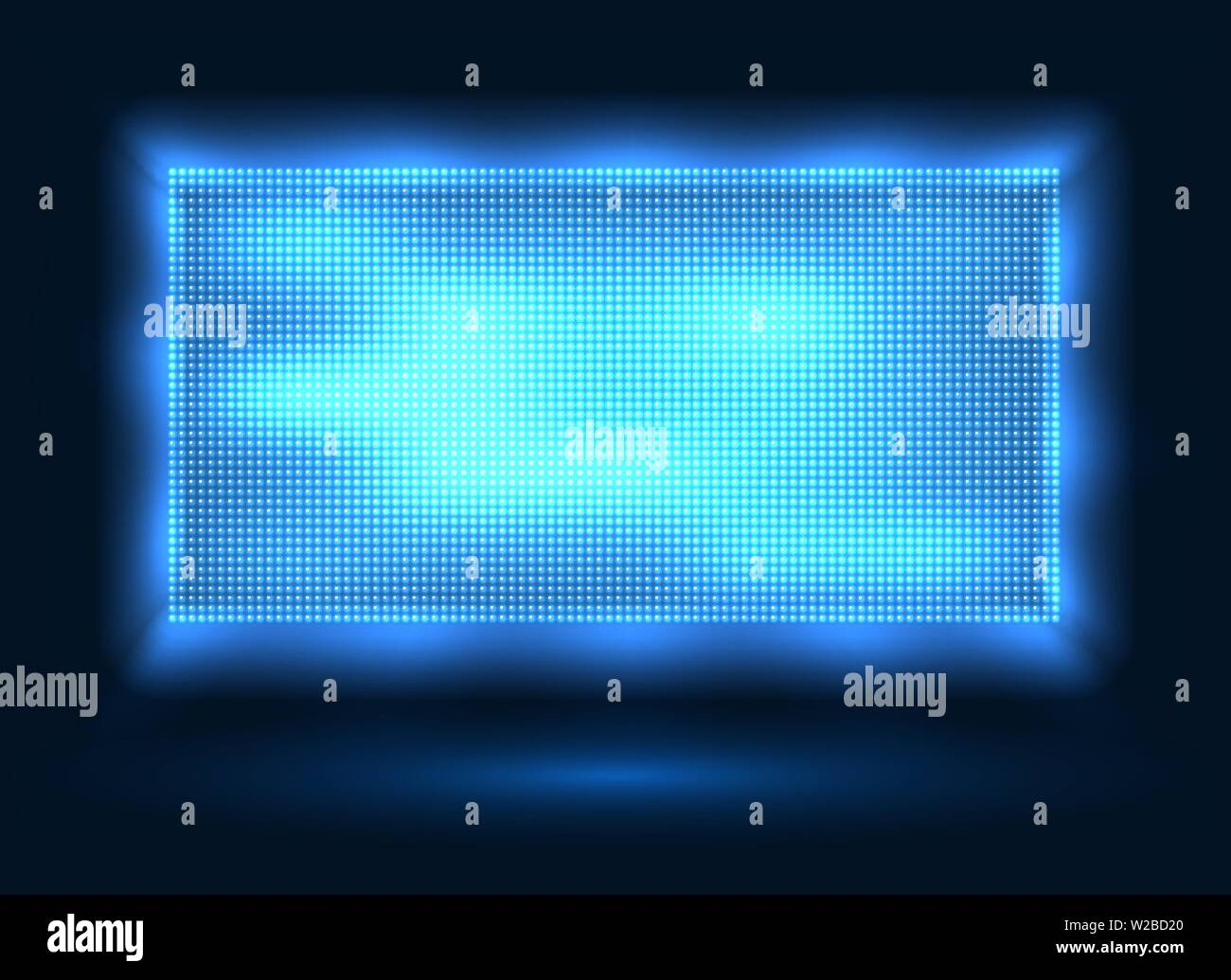 Blue led lights screen  Vector stage display background with blue