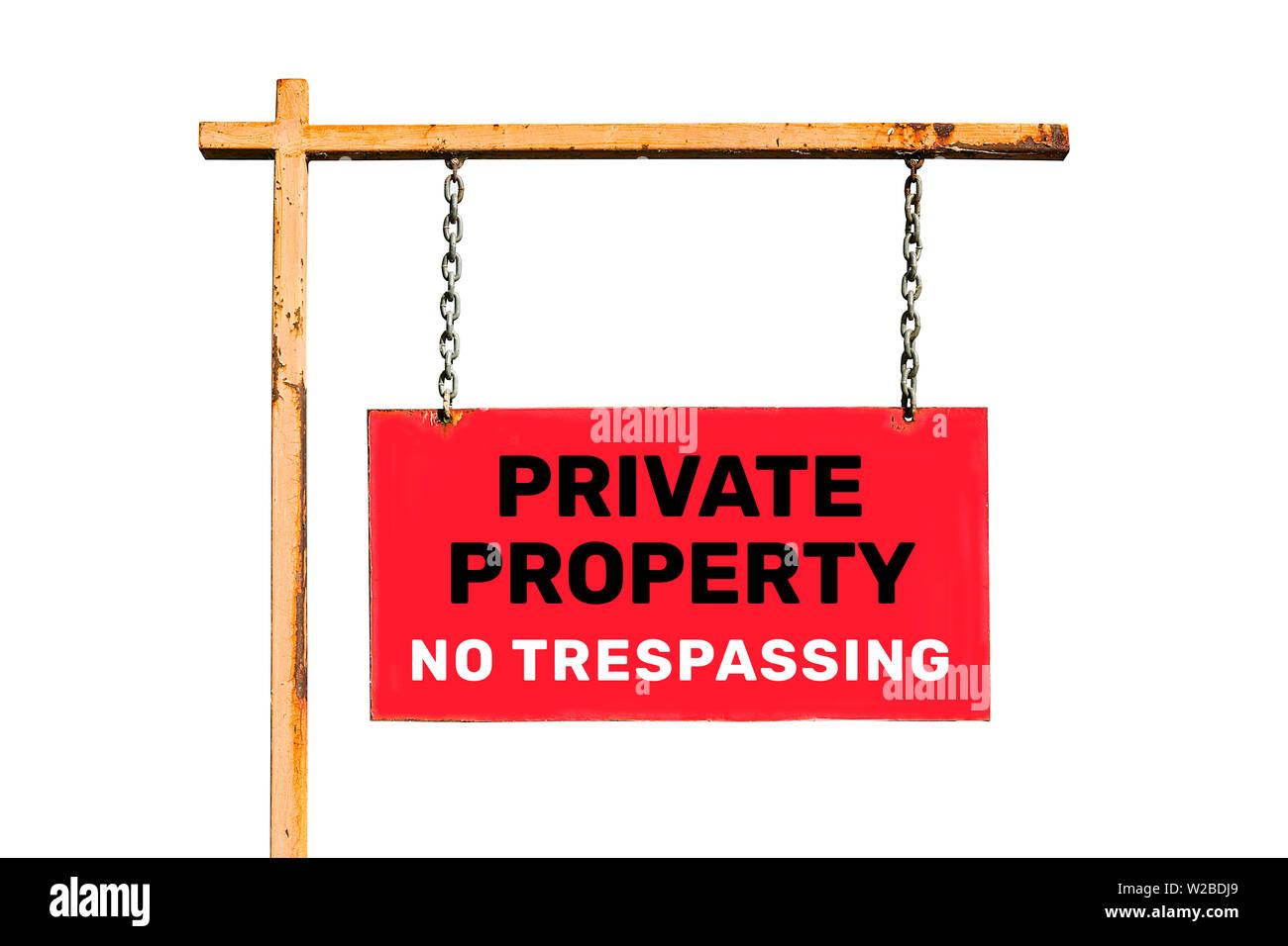 Vintage street sign isolated. With the inscription 'Private property. No trespassing'. Isolated - Stock Image