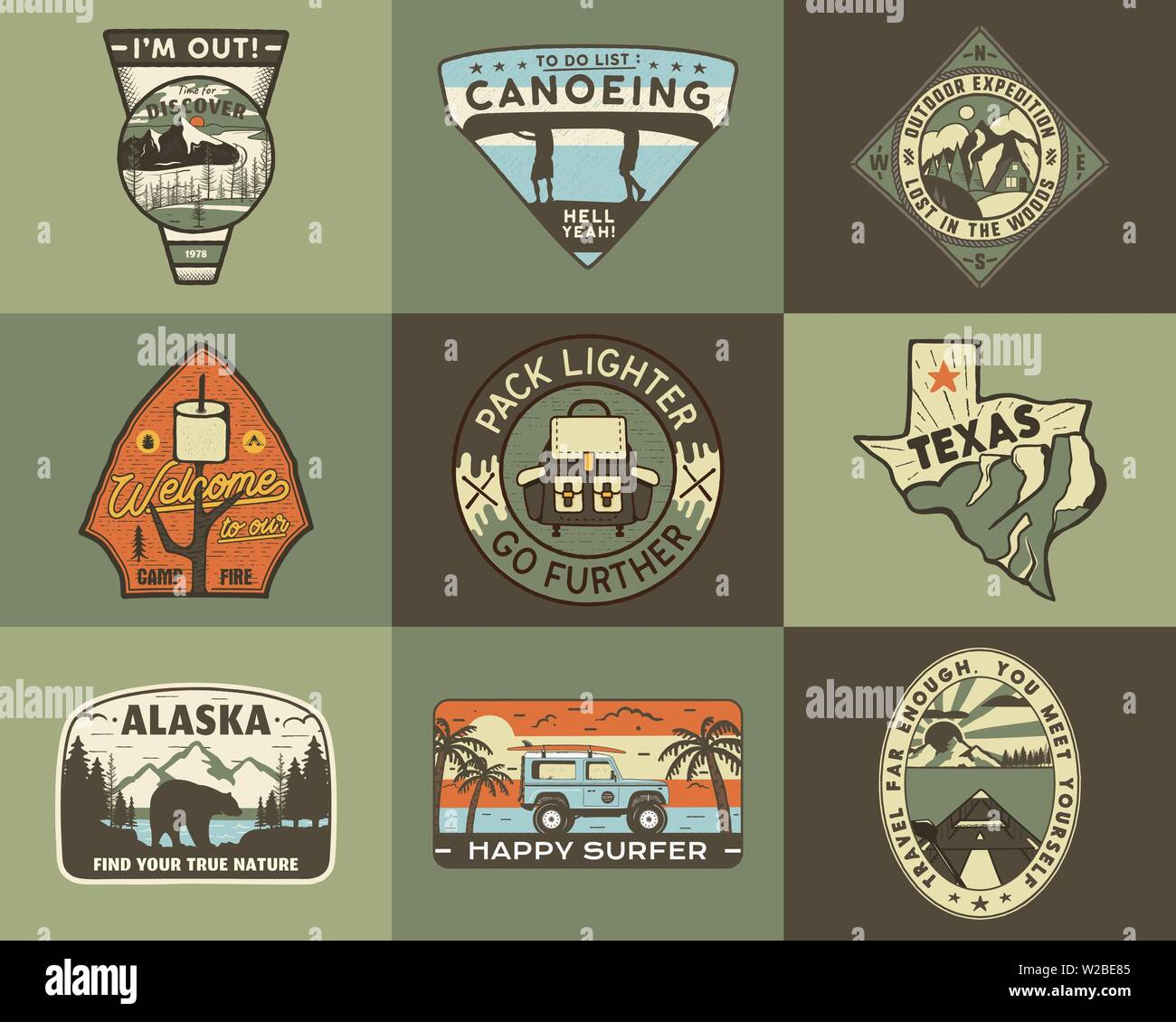 Vintage hand drawn travel badges set. Camping labels concepts. Mountain expedition logo designs. Retro camp logotypes collection. Stock vector outdoor - Stock Vector