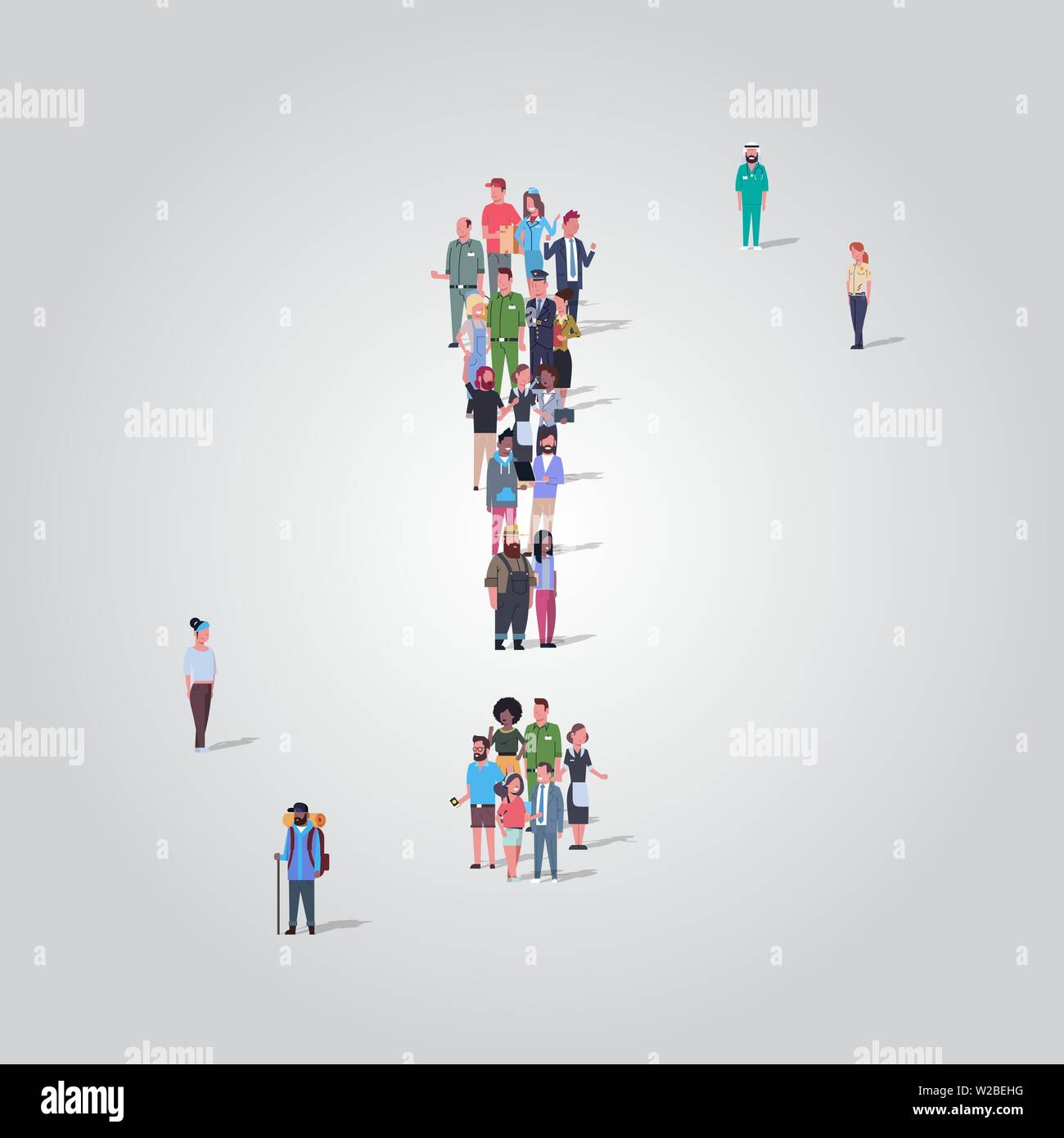 big people crowd gathering in shape of exclamation mark icon social media and community concept different occupation employees group standing together - Stock Image