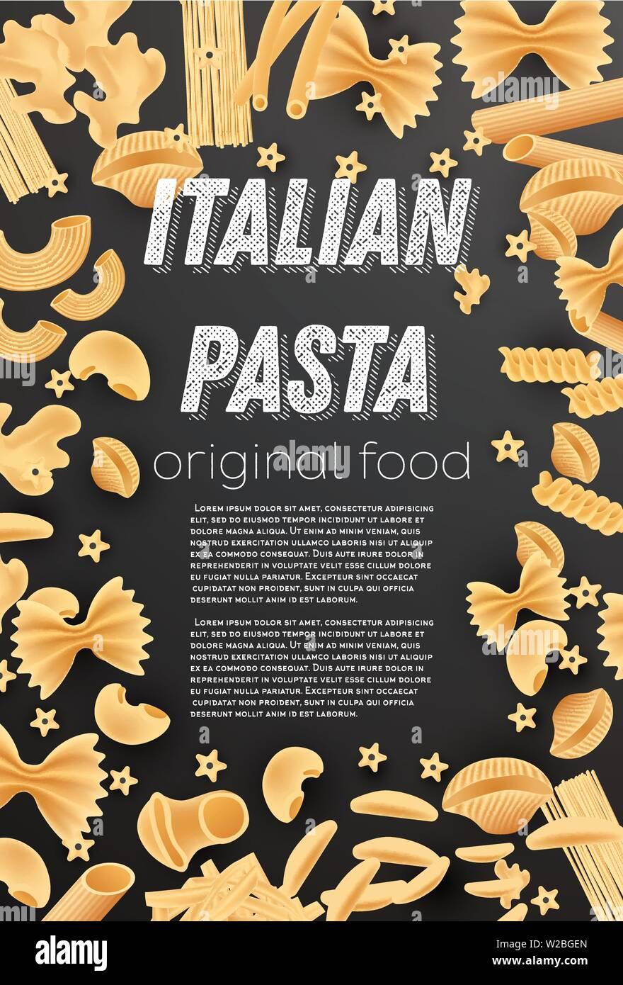 Italian Pasta Background. Farfalle, Conchiglie, Linguine, Maccheroni, Penne, Rigate, Spaghetti, Fusilli and Lasagne. Vector Illustration. Stock Vector