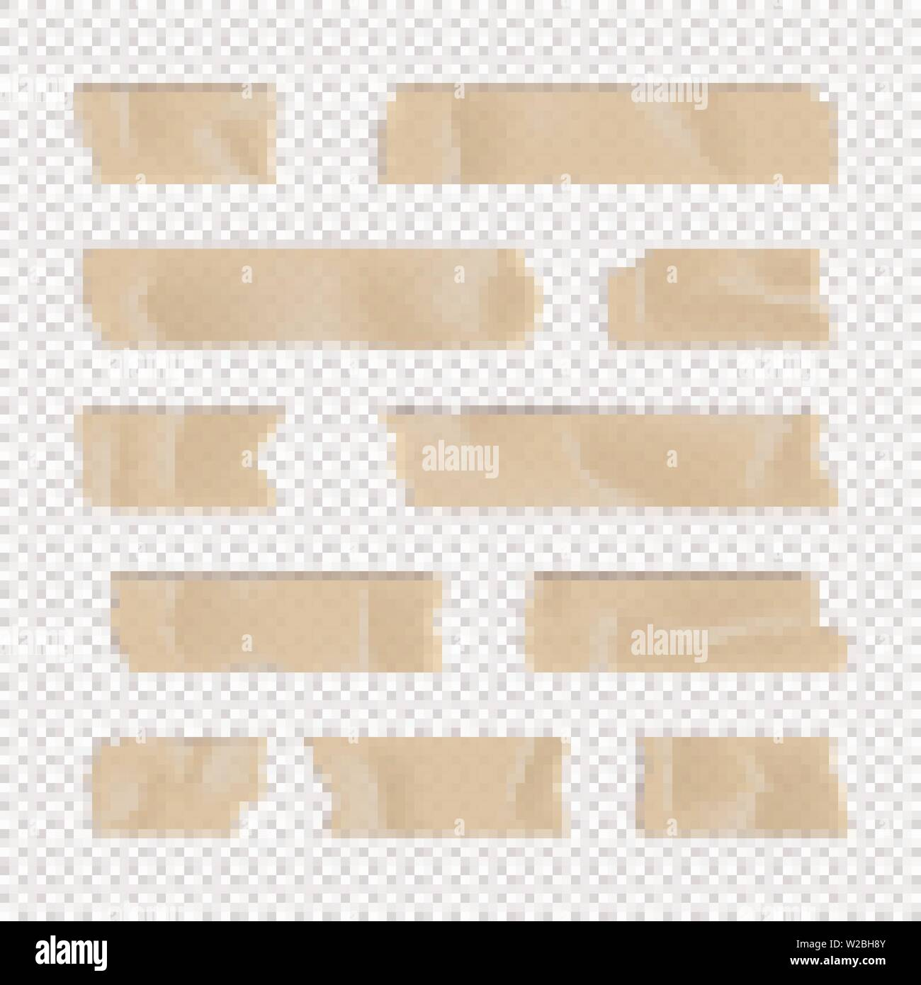 Adhesive Tape Set Sticky Paper Strip Isolated On