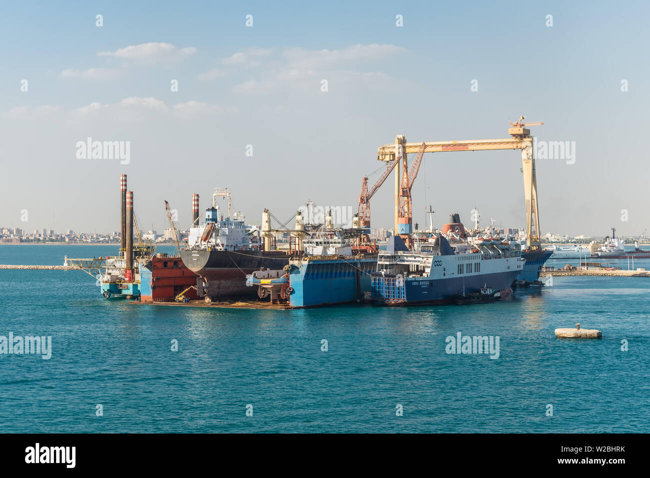 Port Tewfik, Egypt - November 5, 2017: Dry dock at the Port Tewfik in the suburbs of Suez. The Suez Port is an Egyptian port located at the southern b - Stock Image