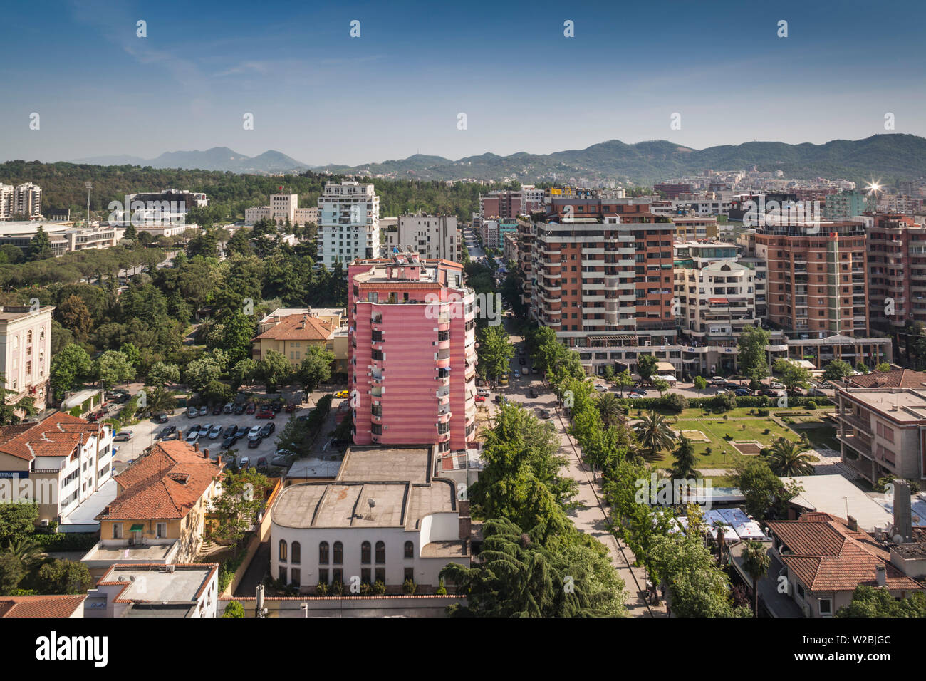 Albania, Tirana, Blloku area, formerly used by Communist party elite, elevated view - Stock Image
