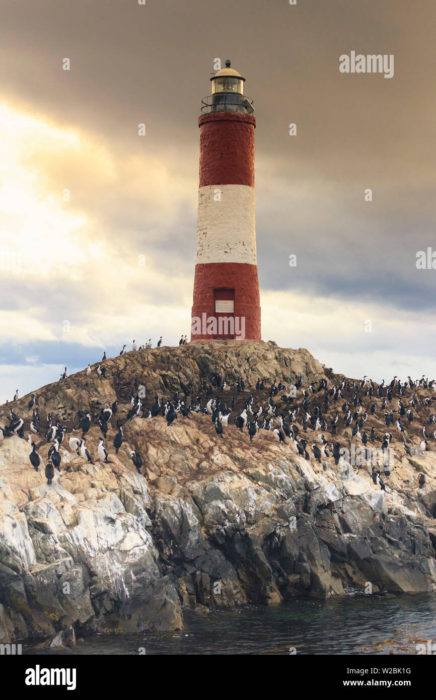 Argentina, Tierra del Fuego, Ushuaia, Beagle Channel, Les Eclaireurs Ligthouse - Stock Image