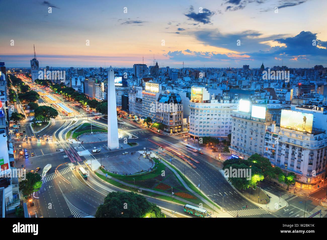 Argentina, Buenos Aires, Avenida 9 de Julio and Obelisk - Stock Image